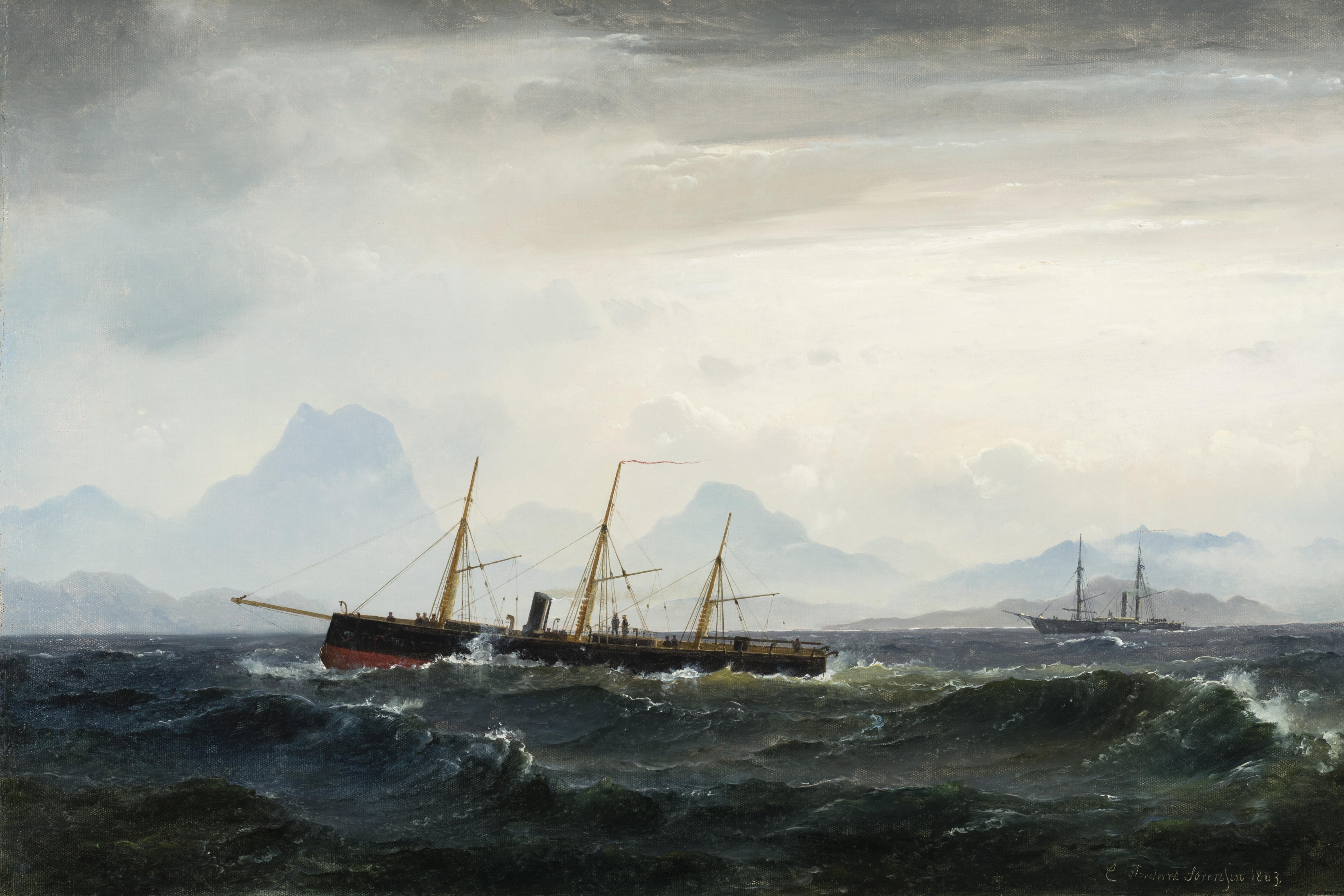 Carl Frederik Sörensen, Seestück mit Dampf- und Segelbooten © © Staatliche Schlösser, Gärten und Kunstsammlungen Mecklenburg-Vorpommern Foto K. Beutel